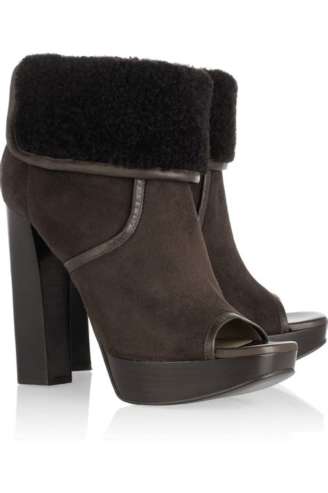 michael kors shearling and suede open toe ankle boots in