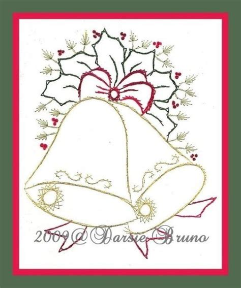 pattern paper greeting card christmas bells and holly paper embroidery pattern for