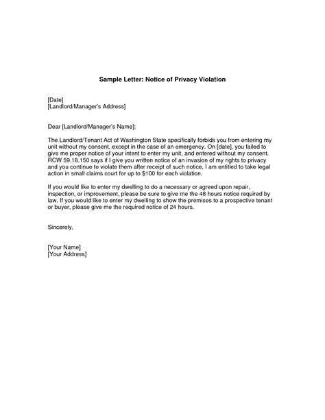 best photos of notification letter to tenant template sle letter notice to tenant from