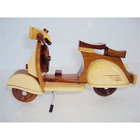 Handmade Wood Gifts - carved wood model scooter vespa handmade wooden