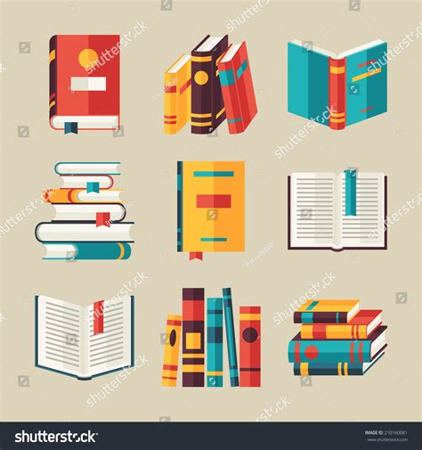 design icon book set book icons flat design style stock vector 210160081