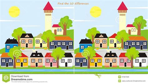 Search In City Find The 10 Differences Town Stock Vector Illustration