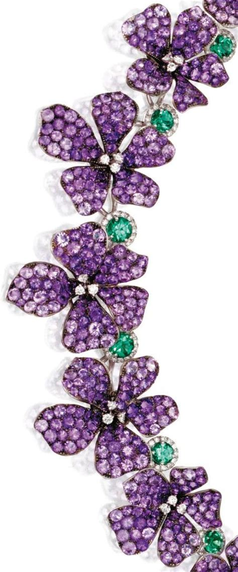 detail amethyst and emerald violet necklace by