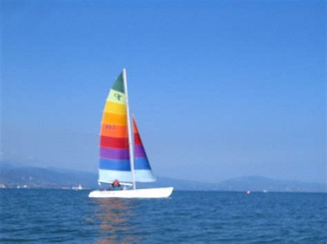 santa barbara kayaking rainbow sailboat picture - Rainbow Beach Boat R
