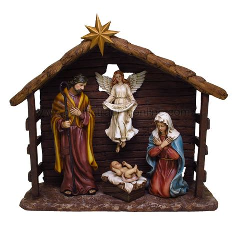 nativity scene mary joseph jesus angel barn christmas
