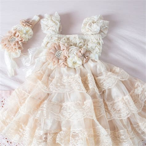 chagne lace flower girl dress ivory lace baby doll