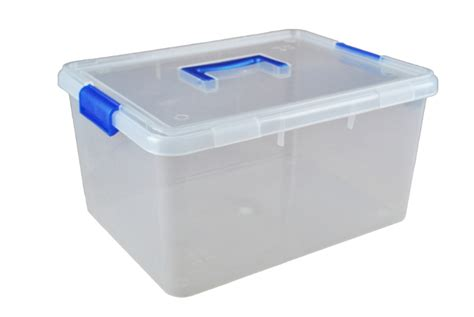 15 litre plastic storage boxes with clip on lids and carry
