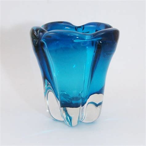 Chagne Glass Vase by Whitefriars Large Mcm Molar Lobed Cased Kingfisher Blue