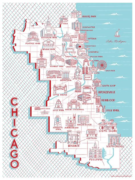 chicago map landmarks chicago map of landmarks 18 quot x 24 quot building drawings