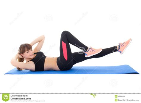 young woman  exercises  abdominal muscles isolated