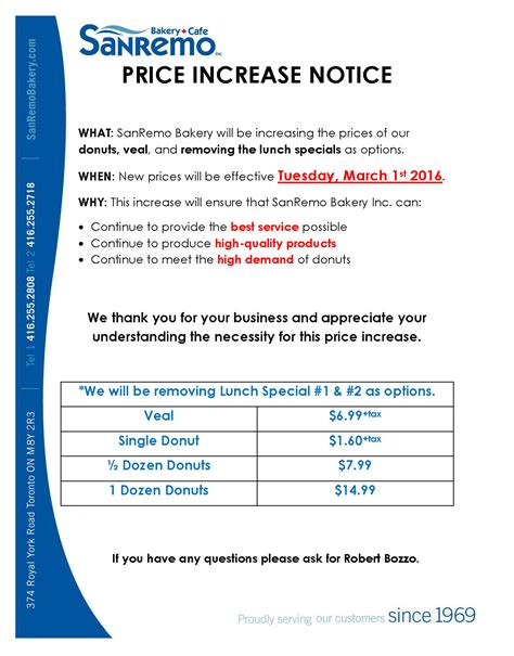 Sle Letter For Product Price Increase price increase notice sanremo bakery