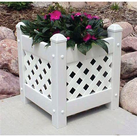 Dura Trel 14 1 2 In Square White Vinyl Lattice Planter Square White Planter