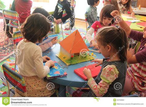 activities kindergarten class girls playing in kindergarten editorial stock photo