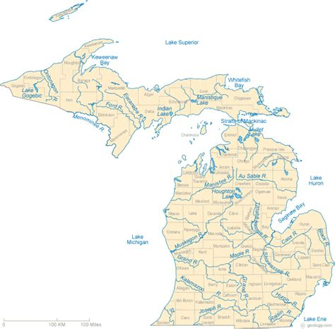 physical map of michigan map of michigan