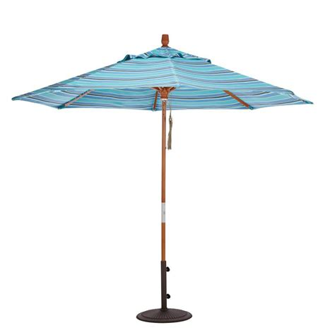 Home Decorators Collection 6 Ft Wood Pulley Open Patio 6 Ft Umbrella For Patio