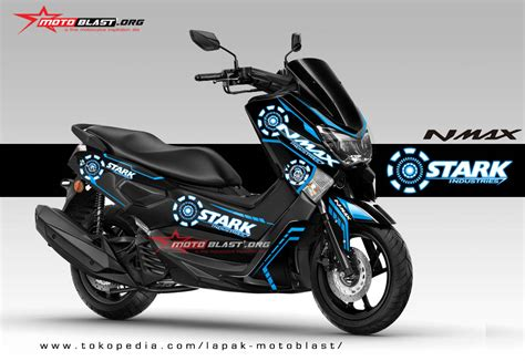Decal Stiker Yamaha Nmax Black Ktm Rc Orange modifikasi striping yamaha nmax black stark industries