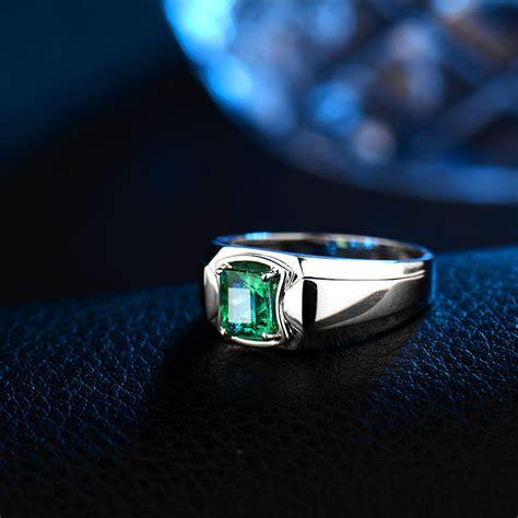 gemstone ring in 18k white gold emerald ring