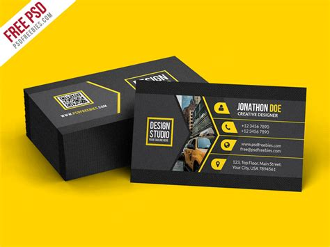 psd template bussiness card with photo free psd creative black business card template psd