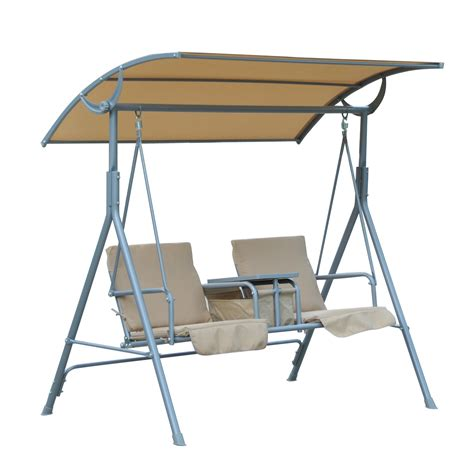 Outdoor Console Table With Storage Outsunny 2 Person Covered Patio Swing W Pivot Table Storage Console Beige Clearance