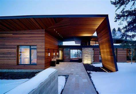 winter house design metal glass and wood homes in snow modern house designs