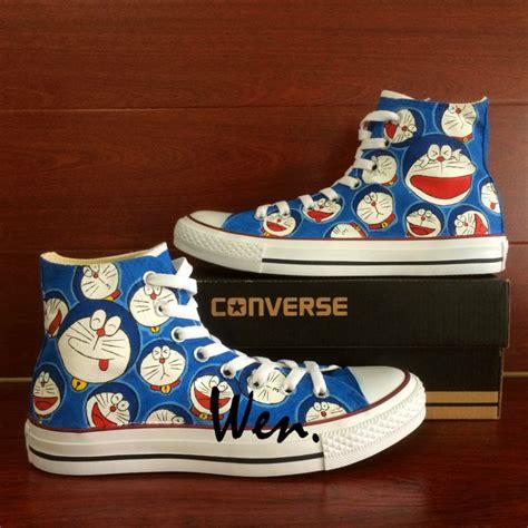 Doraemon Shoes doraemon converse shoes custom painted shoes unique canvas sneakers unique gifts