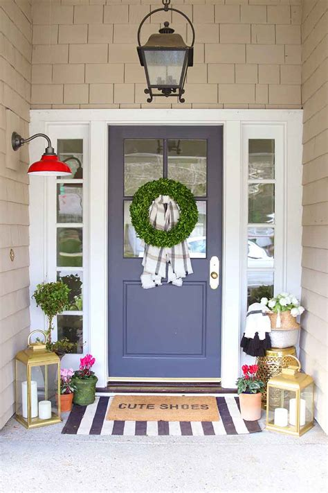 modern valentines day porch decorating doormat layering