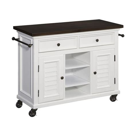 kitchen island lowes shop home styles 44 5 in l x 17 75 in w x 32 in h brushed white kitchen island with casters at