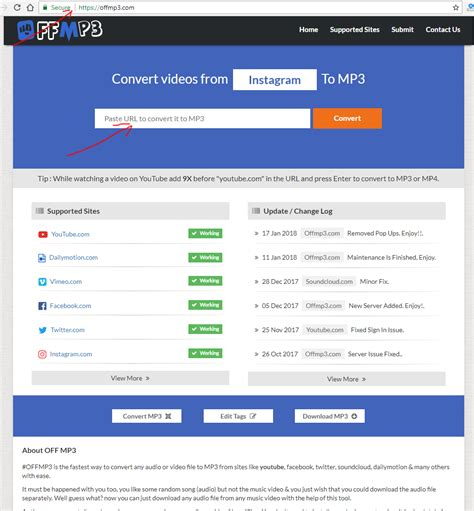 youtube mp3 converter download review offmp3 com review tutorial youtube mp3 converter step 1
