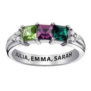 Zales S Day Rings S Princess Cut Simulated Birthstone And Cubic