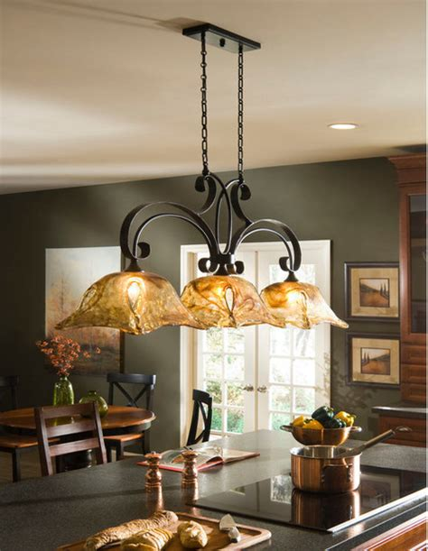 Kitchen Island Light Vetraio Rubbed Bronze Kitchen Island Light Toffee Glass By Uttermost Mediterranean