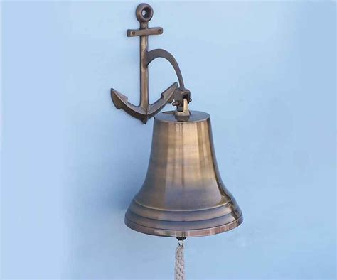 buy antique brass hanging anchor bell 21 inch nautical