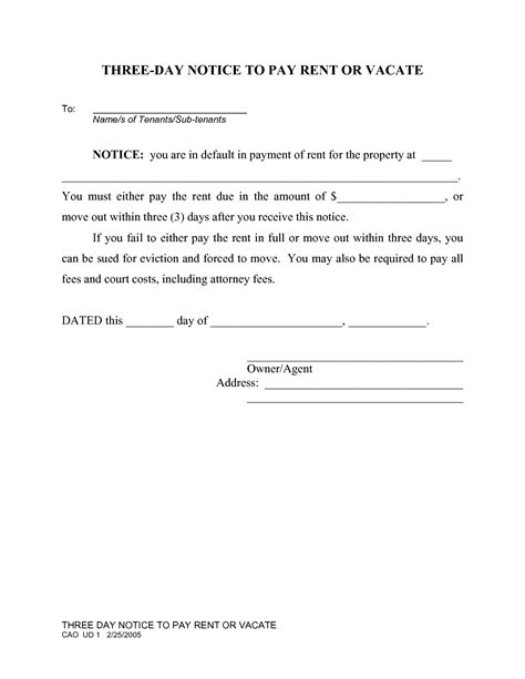 search results for free printable 3 day eviction notice
