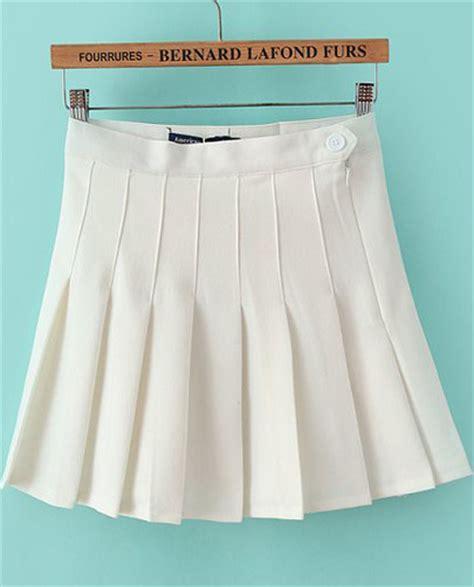white high waist pleated skirt sheinside