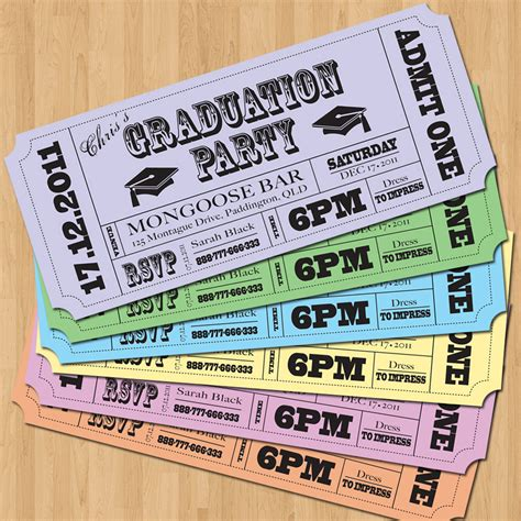 printable tickets invitations graduation party invitations vintage ticket style diy