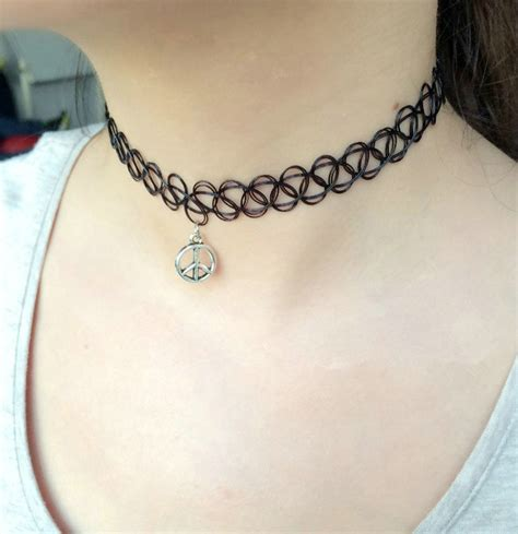tattoo necklaces back in style buy wholesale hot sale fashion women metal peace symbol