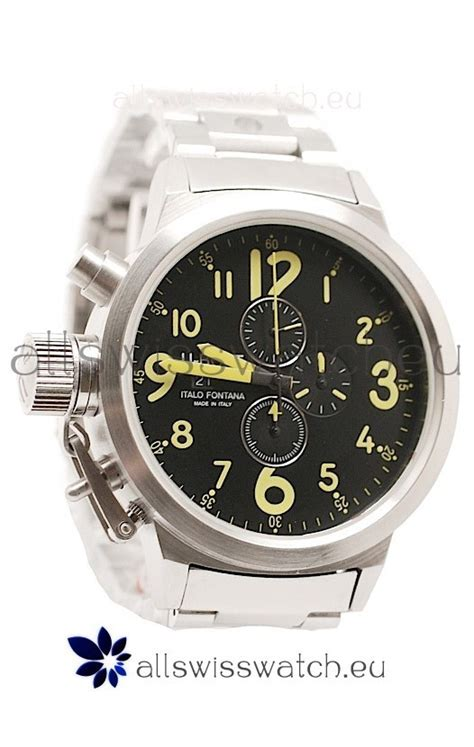 u boat watch green u boat flightdeck japanese replica steel watch in green