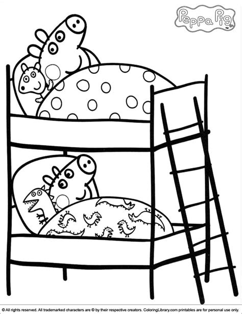 peppa pig mummy coloring pages peppa and george on their beds peppa pig coloring