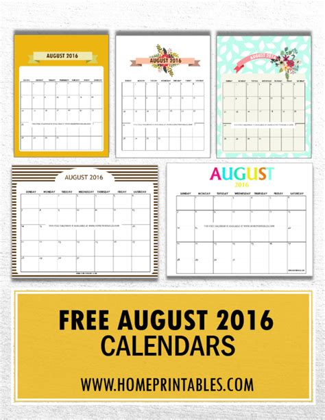 get your free printable august 2016 calendar home