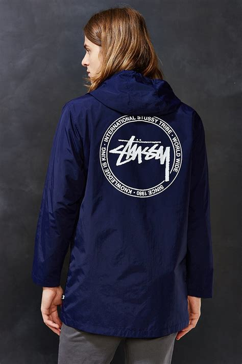 Hoodie Stussy New Yorkleadermerch stussy international back print parka jacket in blue for lyst