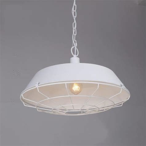 White Industrial Pendant Light White Industrial Cage Pendant Light Tudo And Co Tudo And Co