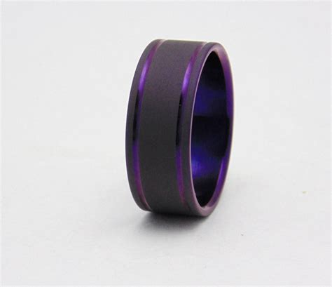 Titan Ring by Titanium Ring With Plum Purple Pinstripes