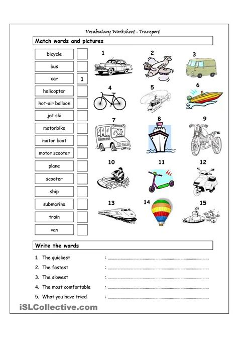 social pattern synonym vocabulary matching worksheet transport means of