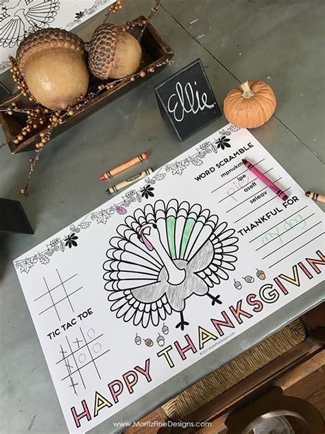 Thanksgiving Placemat For Kids Free Printable Diy