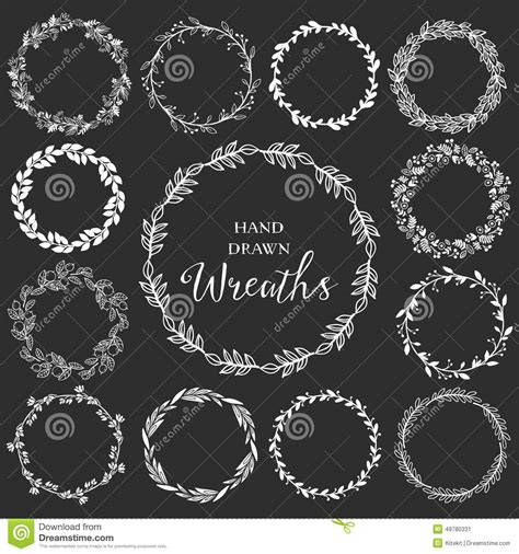 Wreathes vintage set of hand drawn rustic wreaths floral vector