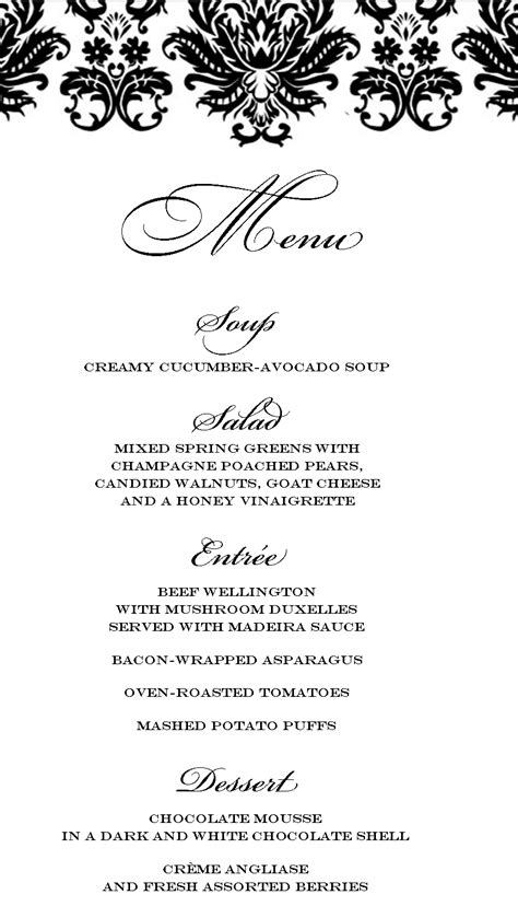 fancy dinner menu template easy dinner menu dinner menu