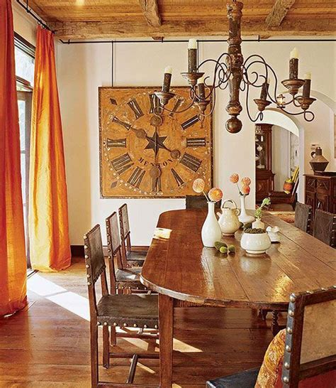 large square rustic clock in dining room time on my