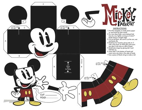 mickey foldable papercraft mickey mouse toys