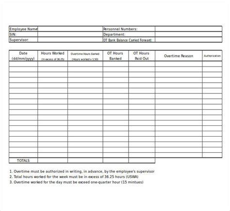 template overtime sheet template