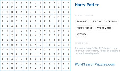 harry potter word search puzzle wordsearchpuzzlescom