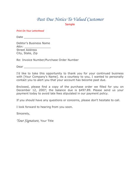 Past Due Invoice Letter Exle Past Due Reminder Letter Template Letter Template 2017
